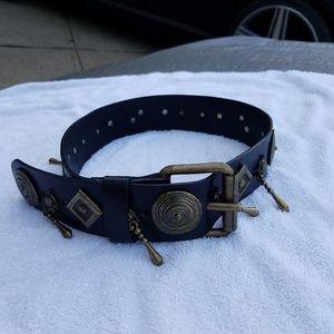 Neiman-Marcus Women's Black Leather Belt